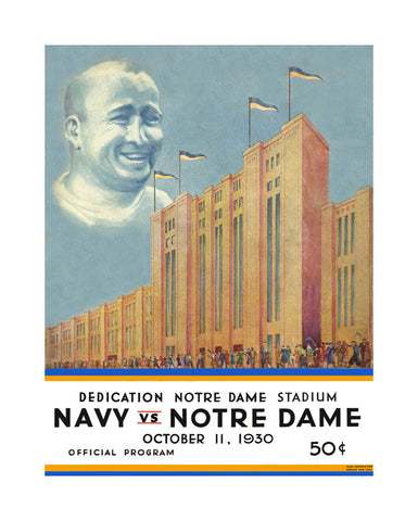 1930 Notre Dame Fighting Irish vs Navy Midshipmen 36 x 48 Canvas Historic Football Poster