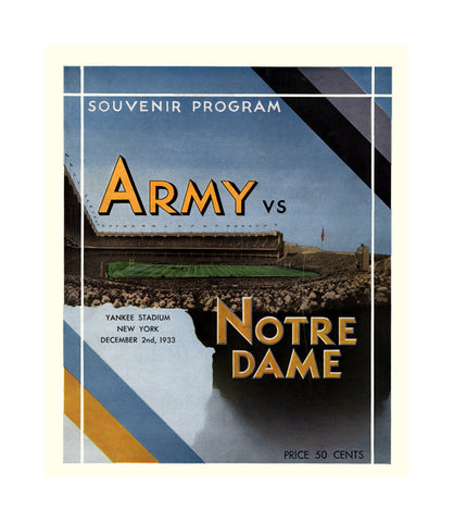 1933 Notre Dame Fighting Irish vs Army Black Knights 36 x 48 Canvas Historic Football Poster