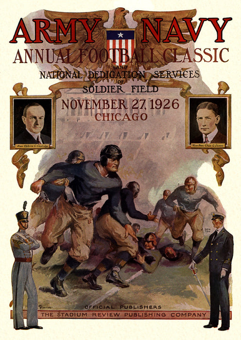 1926 Army Black Knights vs Navy Midshipmen 36 x 48 Canvas Historic Football Poster