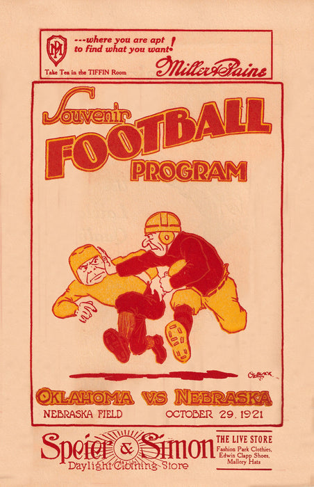 1921 Nebraska Cornhuskers vs Oklahoma Sooners 36 x 48 Canvas Historic Football Poster