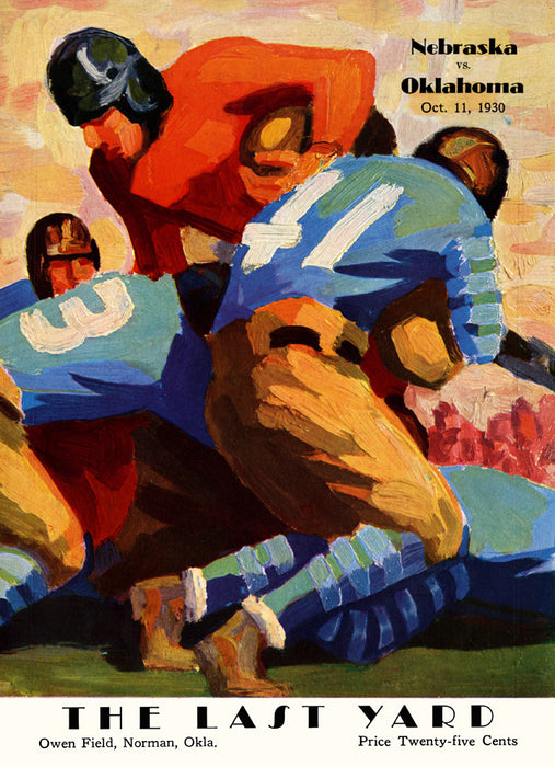 1930 Oklahoma Sooners vs Nebraska Cornhuskers 36 x 48 Canvas Historic Football Poster