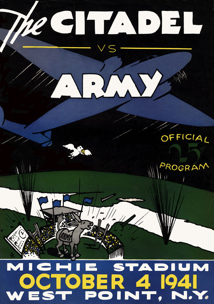1941 Army Black Knights vs Citadel Bulldogs 36 x 48 Canvas Historic Football Poster