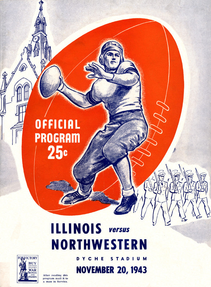 1943 Northwestern Wildcats vs Illinois Fighting Illini 36 x 48 Canvas Historic Football Poster