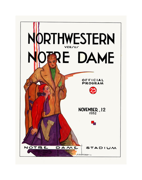 1932 Notre Dame Fighting Irish vs Northwestern Wildcats 36 x 48 Canvas Historic Football Poster
