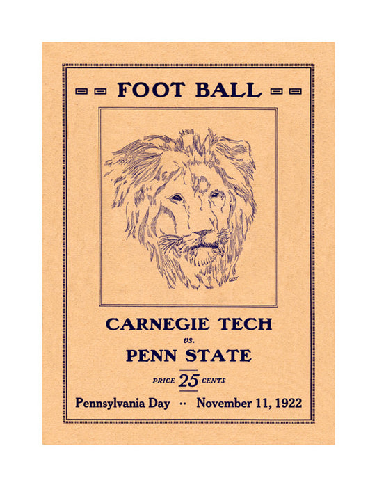 1922 Penn State Nittany Lions vs Carnegie Tech  36 x 48 Canvas Historic Football Poster
