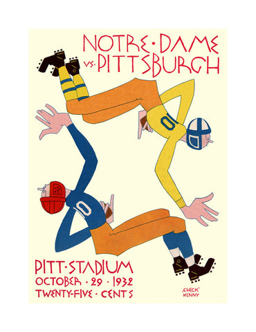 1932 Pittsburgh Panthers vs Notre Dame Fighting Irish 36 x 48 Canvas Historic Football Poster