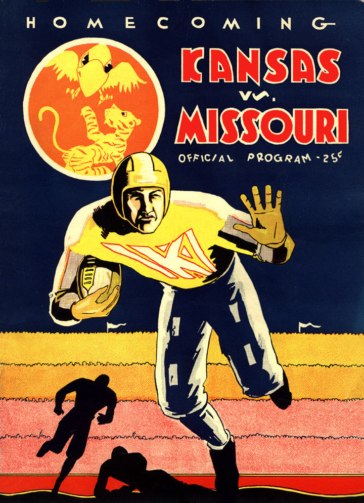 1931 Kansas Jayhawks vs Missouri Tigers 36 x 48 Canvas Historic Football Poster