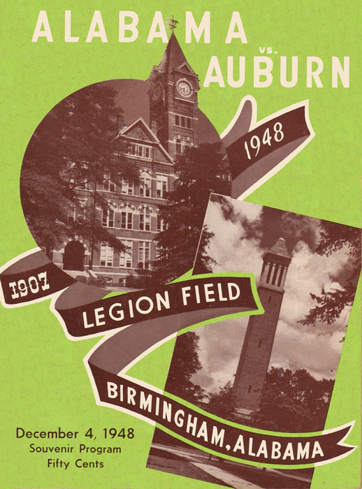 1948 Alabama Crimson Tide vs Auburn Tigers 36 x 48 Canvas Historic Football  Poster