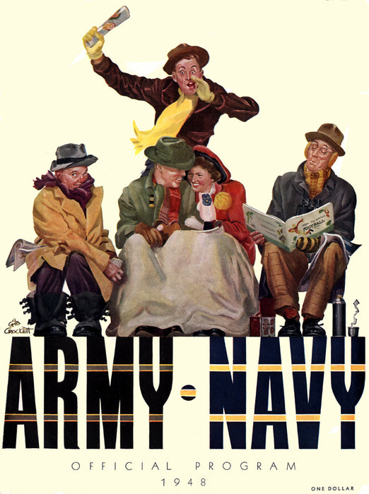 1948 Army Black Knights vs Navy Midshipmen 36 x 48 Canvas Historic Football Poster