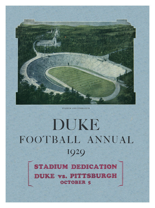 1929 Duke Blue Devils vs Pittsburgh Panthers 36x48 Canvas Historic Football Poster
