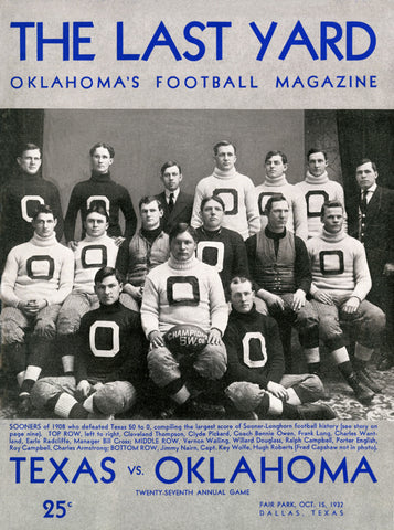 1932 Texas Longhorns vs Oklahoma Sooners36 x 48 Canvas Historic Football Poster