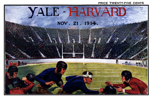 1914 Yale Bulldogs vs Harvard Crimson 36 x 48 Canvas Historic Football Poster