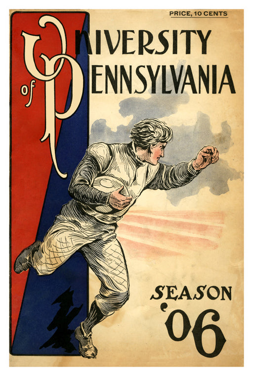 1906 Penn Quakers Season Cover 36x48 Canvas Historic Football Poster