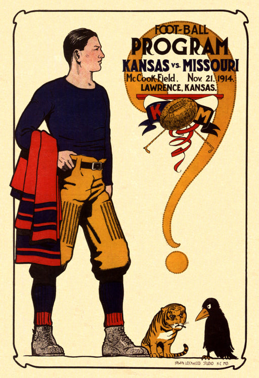 1914 Kansas Jayhawks vs Missouri Tigers 36 x 48 Canvas Historic Football Poster