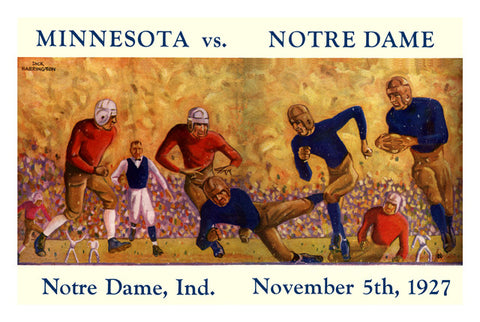1927 Notre Dame Fighting Irish vs Minnesota Golden Gophers 36 x 48 Canvas Historic Football Print