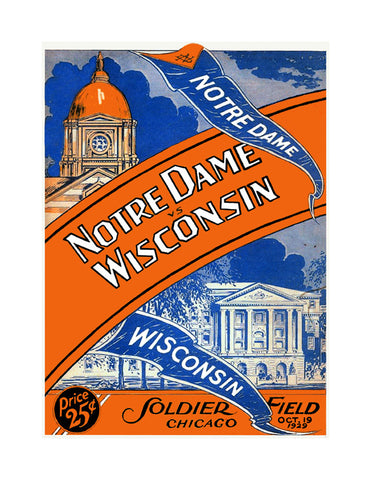 1929 Notre Dame Fighting Irish vs Wisconsin Badgers 36 x 48 Canvas Historic Football Poster