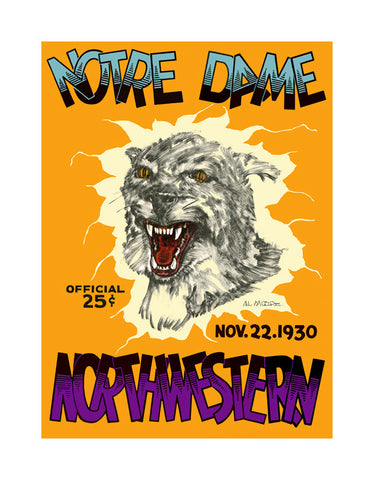 1930 Northwestern Wildcats vs Notre Dame Fighting Irish 36 x 48 Canvas Historic Football Poster