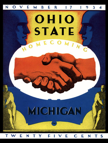1934 Ohio State Buckeyes vs Michigan Wolverines 36 x 48 Canvas Historic Football Poster
