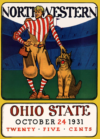 1931 Ohio State Buckeyes vs Northwestern Wildcats 36 x 48 Canvas Historic Football Poster