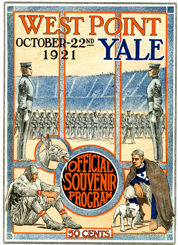 1921 Yale Bulldogs vs Army Black Knights 36 x 48 Canvas Historic Football Poster