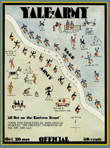 1929 Yale Bulldogs vs Army Black Knights 36 x 48 Canvas Historic Football Poster