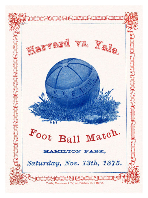 1875 Yale Bulldogs vs Harvard Crimson 36x48 Canvas Historic Football Poster