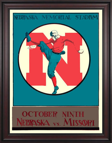 1928 Nebraska Cornhuskers vs Missouri Tigers 30 x 40 Framed Canvas Historic Football Poster