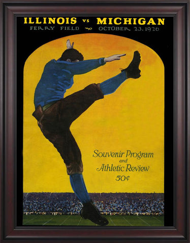 1926 Michigan Wolverines vs Illinois Fighting Illini 30 x 40 Framed Canvas Historic Football Poster