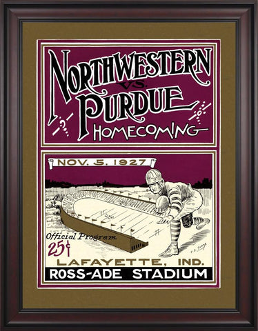 1927 Purdue Boilermakers vs Northwestern Wildcats 30 x 40 Framed Canvas Historic Football Poster