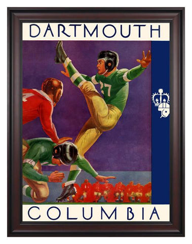 1937 Columbia Lions vs Dartmouth Big Green 30 x 40 Framed Canvas Historic Football Poster