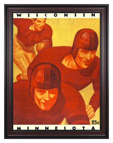1934 Wisconsin Badgers vs Minnesota Golden Gophers 30 x 40 Framed Canvas Historic Football Print