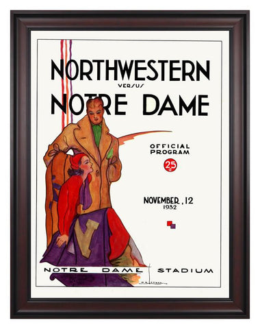 1932 Notre Dame Fighting Irish vs Northwestern Wildcats 30 x 40 Framed Canvas Historic Football Poster