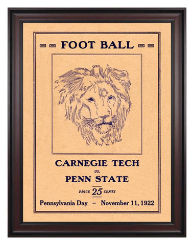 1922 Penn State Nittany Lions vs Carnegie Tech  30 x 40 Framed Canvas Historic Football Poster
