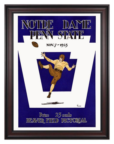 1925 Penn State Nittany Lions vs Notre Dame Fighting Irish 30 x 40 Framed Canvas Historic Football Poster