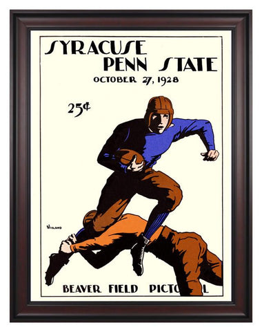1928 Penn State Nittany Lions vs Syracuse Orange 30 x 40 Framed Canvas Historic Football Print