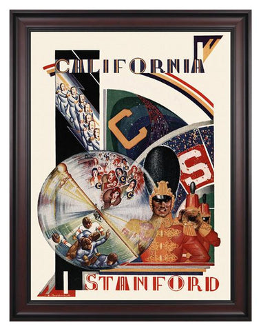 1930 California Bears vs Stanford Cardinal 30 x 40 Framed Canvas Historic Football Poster
