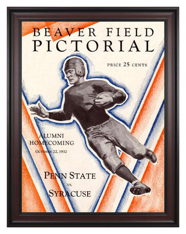 1932 Penn State Nittany Lions vs Syracuse Orange 30 x 40 Framed Canvas Historic Football Print