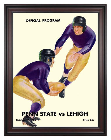 1936 Lehigh Mountain-Hawks vs Penn State Nittany Lions 30 x 40 Framed Canvas Historic Football Poster