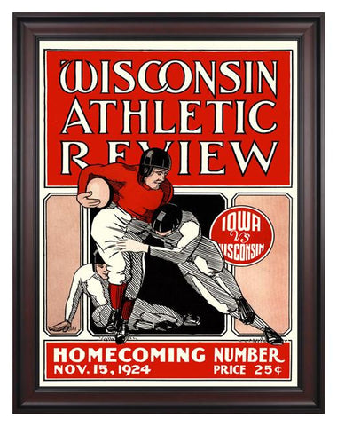 1924 Wisconsin Badgers vs Iowa Hawkeyes 30 x 40 Framed Canvas Historic Football Poster