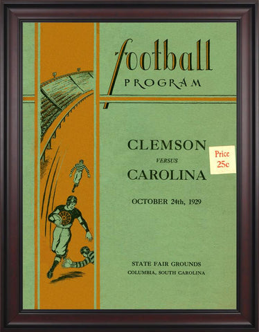 1929 South Carolina Gamecocks vs Clemson Tigers 30 x 40 Framed Canvas Historic Football Poster