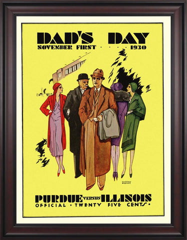 1930 Illinois Fighting Illini vs Purdue Boilermakers 30 x 40 Framed Canvas Historic Football Poster