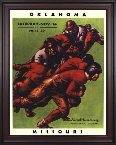 1931 Missouri Tigers vs Oklahoma Sooners 30 x 40 Framed Canvas Historic Football Poster