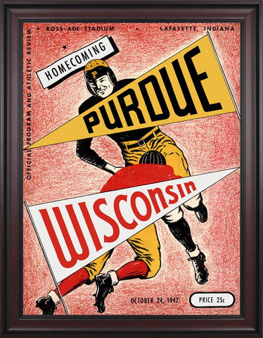 1942 Purdue Boilermakers vs Wisconsin Badgers 30 x 40 Framed Canvas Historic Football Poster