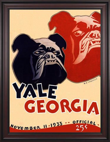 1933 Yale Bulldogs vs Georgia Bulldogs 30 x 40 Framed Canvas Historic Football Poster
