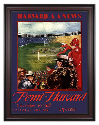 1928 Harvard Crimson vs Penn Quakers 30 x 40 Framed Canvas Historic Football Poster