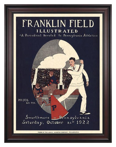 1922 Penn Quakers vs Swarthmore the Garnet 30 x 40 Framed Canvas Historic Football Poster