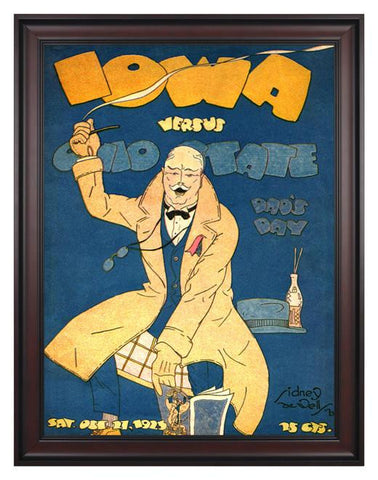 1923 Ohio State Buckeyes vs Iowa Hawkeyes 30 x 40 Framed Canvas Historic Football Poster