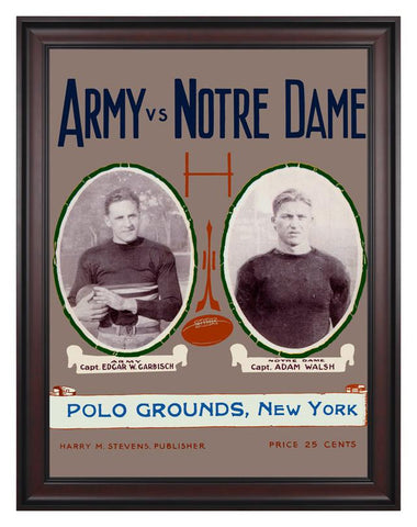 1924 Notre Dame Fighting Irish vs Army Black Knights 30 x 40 Framed Canvas Historic Football Poster