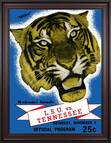 1939 LSU Tigers vs Tennessee Volunteers 30 x 40 Framed Canvas Historic Football Poster