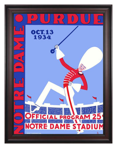 1934 Notre Dame Fighting Irish vs Purdue Boilermakers 30 x 40 Framed Canvas Historic Football Poster